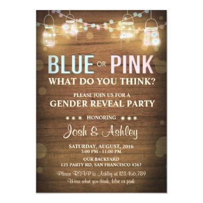 Gender reveal party Invitations Rustic Wood Shower