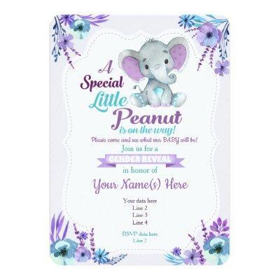 Gender Reveal Peanut Invitation Purple Teal