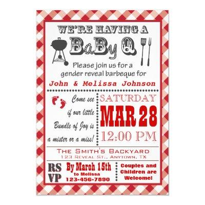 Gender Reveal Red Barbeque BaByQ Invitation