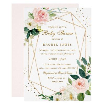 Geometric Blush Gold Floral Baby Shower Invitation