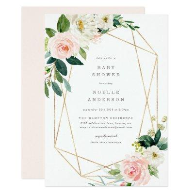 Geometric Spring Romance Baby Shower Invitation