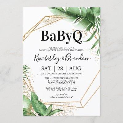 Geometric Tropical Botanical BBQ Baby Shower Invitation