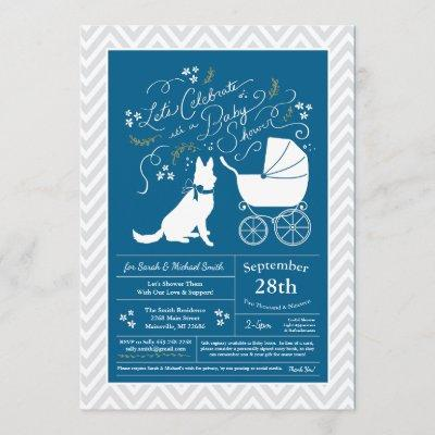 German Shepherd Dog Baby Shower French Blue Boy Invitation