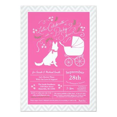 German Shepherd Dog Baby Shower French Pink Girl Invitation