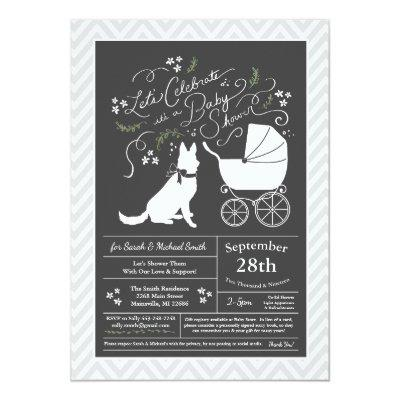 German Shepherd Dog Baby Shower Gender Neutral Invitation
