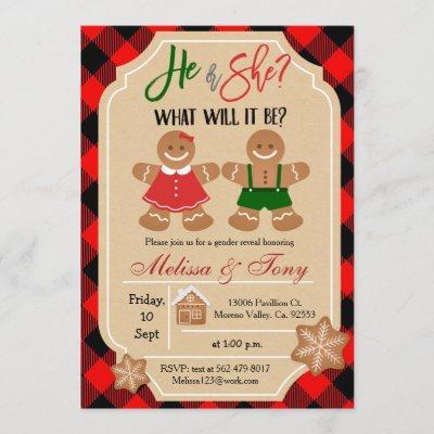 Gingerbread Holiday Gender Reveal Invitation
