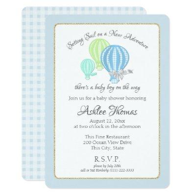 Gingham Hot Air Balloons Adventure Baby Shower Invitations
