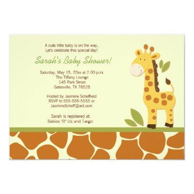 Giraffe Adventure Baby Shower Invitation