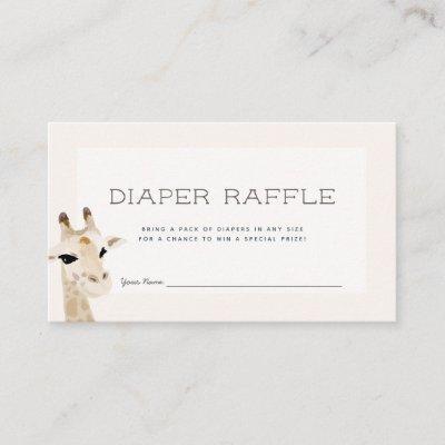 Giraffe Baby Shower Beige Diaper Raffle Ticket Enclosure Card