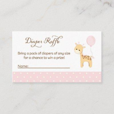 Giraffe Baby Shower Diaper Raffle Tickets Enclosure Card