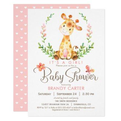 Giraffe Baby Shower, Girl Invitations