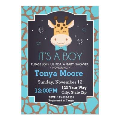Giraffe Baby Shower Invitation (boy)