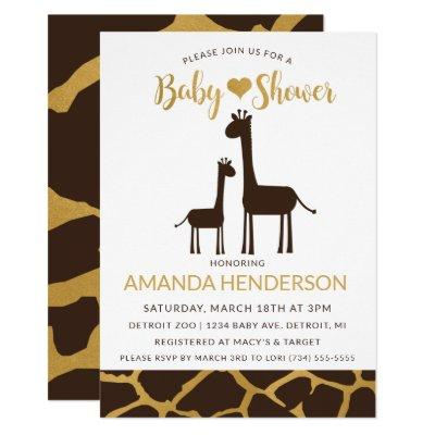 Giraffe Baby Shower Invitations Brown & Gold