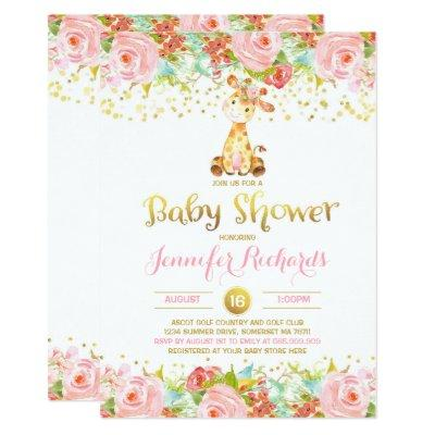 Giraffe Baby Shower Invitation Floral Pink & Gold