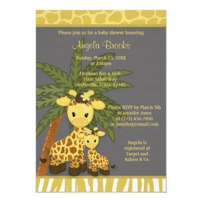 Giraffe Baby Shower Invitations Mommy Gray Yellow