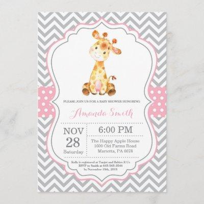 Giraffe Baby Shower Invitation Pink and Gray