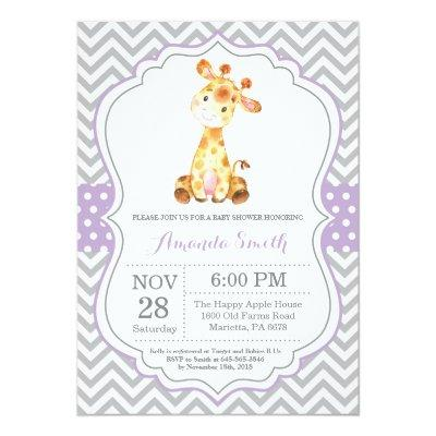 Giraffe Baby Shower Invitation Purple and Gray
