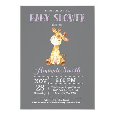 Giraffe Baby Shower Invitation Purple and Gray