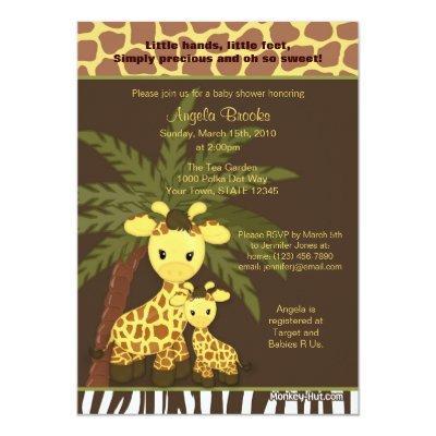 Giraffe Invitations Safari Jungle Mommy