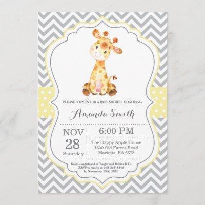 Giraffe Baby Shower Invitation Yellow and Gray