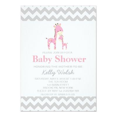 Giraffe Baby Shower Invitations Chevron