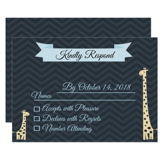 Giraffe Baby Shower RSVP Card Card