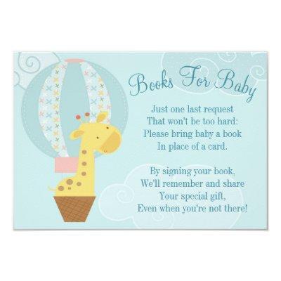 Giraffe Balloon Book Invitations Bring A Book