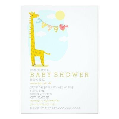 Giraffe  Bird Neutral Invitations