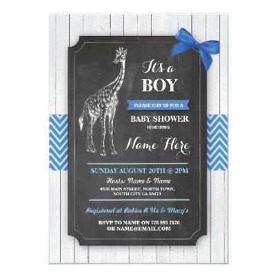 Giraffe Blue Party Boy Wood Invite