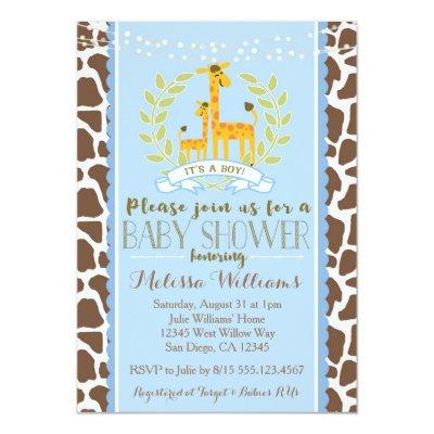 Giraffe Boy Blue Baby Shower Invitations