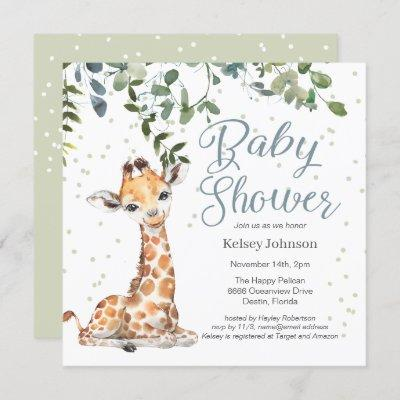 Giraffe Eucalyptus Greenery Baby Shower Invitation