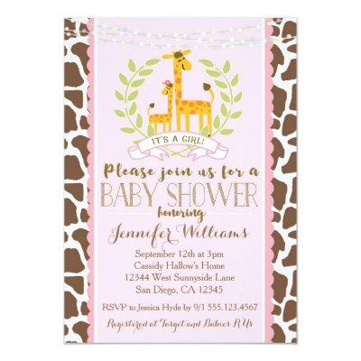 Giraffe Girl Pink Baby Shower Invitation