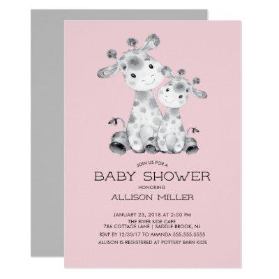 Giraffe Girls baby Shower Invitations