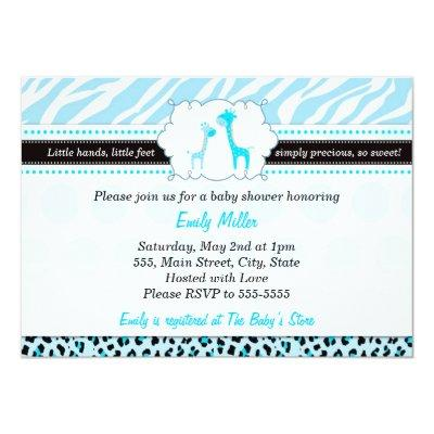 Giraffe Invitation Baby Boy Shower Turquoise