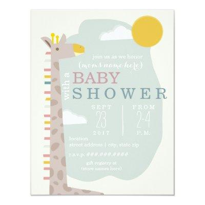 Giraffe Modern Neutral Baby Shower Invitation