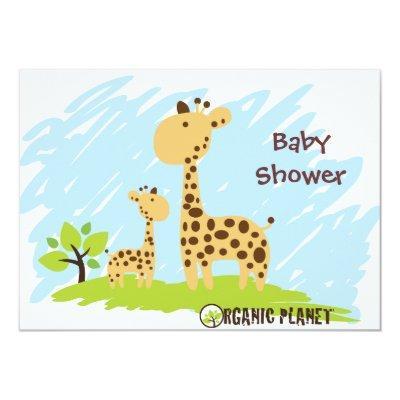 Giraffe Organic Planet Baby Shower Invitaitions Invitations