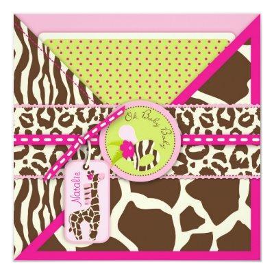 Giraffe & Pacifier Safari Animal Print Baby Shower Invitation