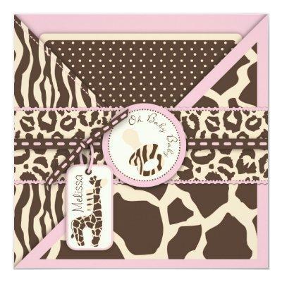 Giraffe Safari Pink Baby Shower Invitation