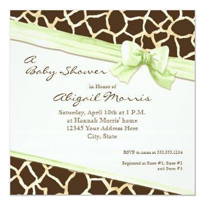Giraffe Skin Pattern Ribbon n Bow Baby Girl Invite