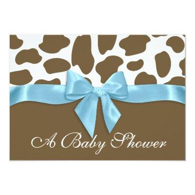 Giraffe Spots and Blue Bow Baby Shower Invitation