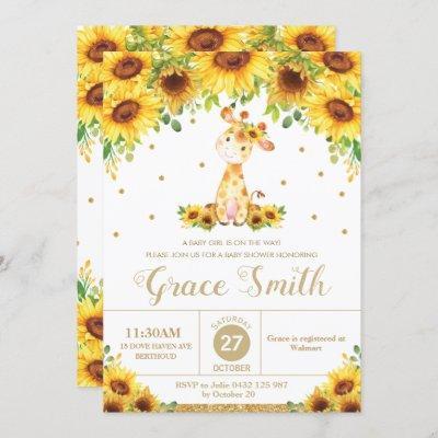 Giraffe Sunflower Floral Baby Shower Girl Invitation
