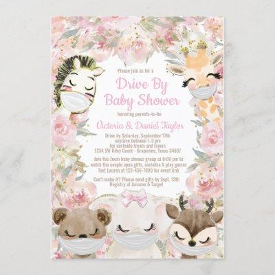 Girl Animal With Masks Drive By Baby Shower Invitation