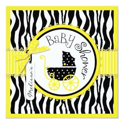 GIRL Baby Carriage, Zebra Print Yellow Baby Shower Invitation