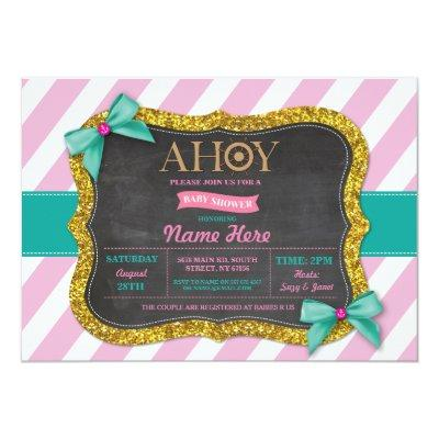 Girl Baby Shower Ahoy Bows Cute Stripe Pink Invite