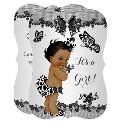 Girl Baby Shower Butterfly Black White Ethnic Invitations