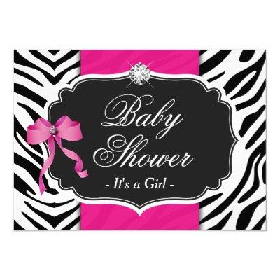 Girl Baby Shower - Elegant Zebra Print Hot Pink Invitation