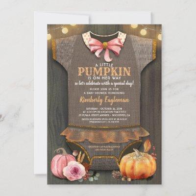 Girl Baby Shower Fall Pumpkin Rustic Burlap Wood Invitation