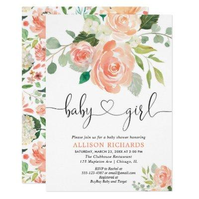 Girl baby shower floral watercolors peach greenery Invitations