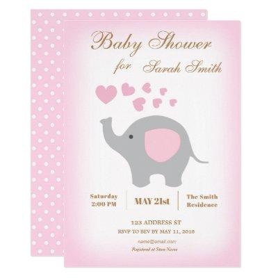 Girl Baby Shower Invitation Elephant Pink Hearts