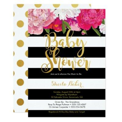 Girl Baby Shower Invitation - Floral Black White